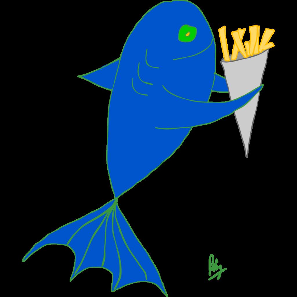 Taalspel: een vis eet een zak friet